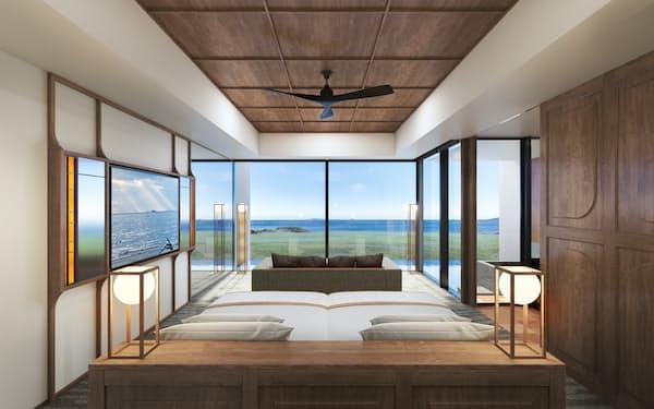 双日が建設中の「五島リトリートray」の客室の完成予想図