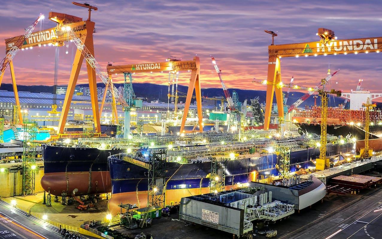 現代重工は高い受注水準を維持している(韓国南部の造船所)