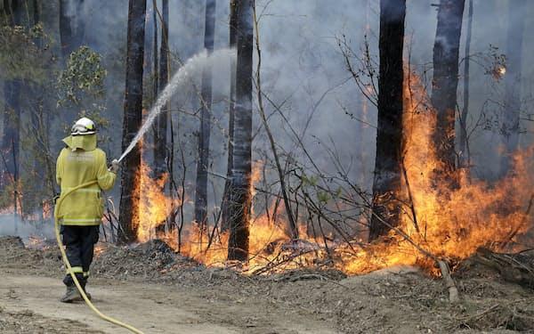 オーストラリア東部の森林火災で消火活動をする消防士=2020年1月(AP=共同)