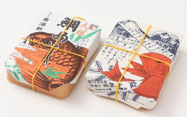 右の弁当の掛紙が復刻させた明治時代のデザイン。タイや富士山のイラストが入っている