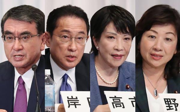 自民党総裁選に立候補し、記者会見する(写真左から)河野、岸田、高市、野田の各氏(17日、党本部)