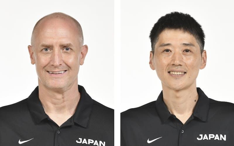 トム・ホーバス氏(左)、恩塚亨氏=共同