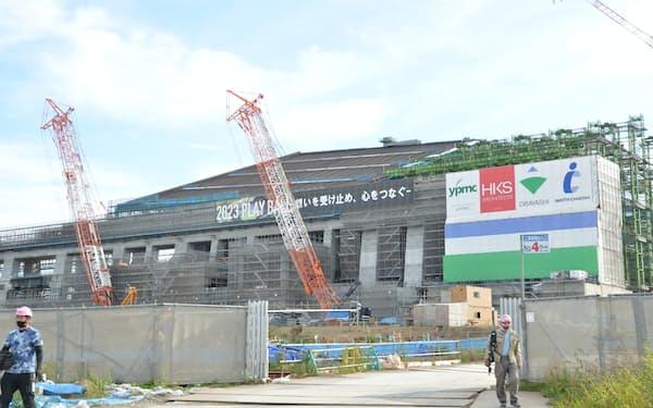 北海道北広島市では23年開業にむけてボールパークの建設が進む(9月19日)