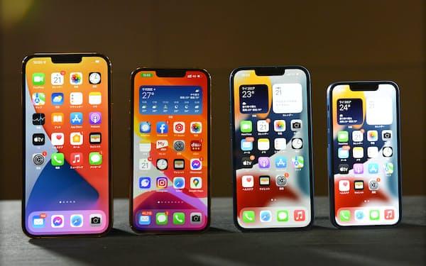 左からiPhone 13 Pro MAX、iPhone 13 Pro、iPhone 13、iPhone 13 mini