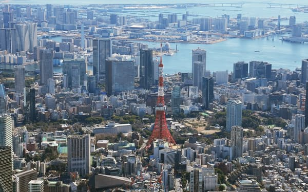 東京圏は住宅地、商業地ともに地価が前年比で上昇した(中央は東京タワー)