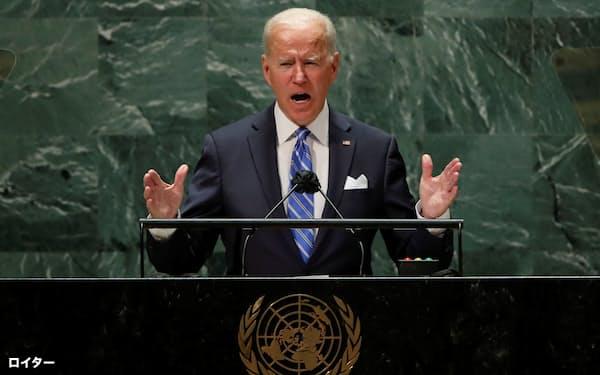国連総会で演説するバイデン米大統領(21日、ニューヨーク)=ロイター