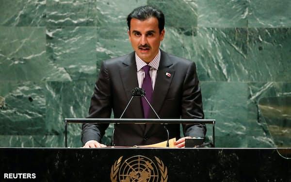 21日、国連総会で演説するカタールのタミム首長=ロイター