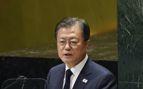 米時間の21日、国連総会で演説する文在寅大統領=聯合・共同