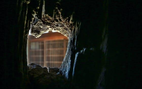 佐賀城の鯱(しゃち)の門にうがたれた佐賀の乱での弾痕