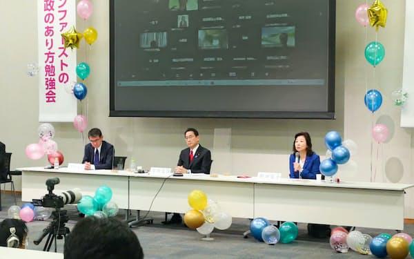 総裁選の候補者を招いて開かれた、「子ども庁」の創設に向けた自民党の討論会(22日午前、国会内)