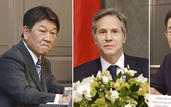 左から茂木外相、ブリンケン米国務長官、韓国の鄭義溶外相=共同