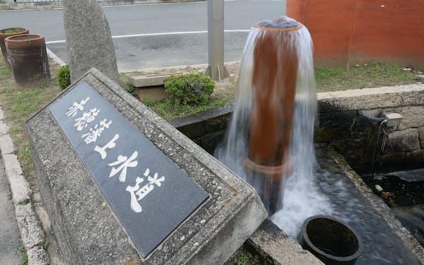 赤穂市に江戸時代から上水道があったことを示すモニュメント(兵庫県赤穂市)