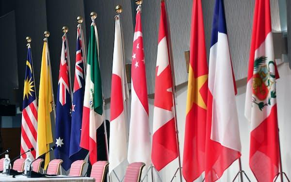中国に続く台湾のTPP加盟申請で、加盟国は対中姿勢の踏み絵を迫られる(写真は加盟国の国旗)