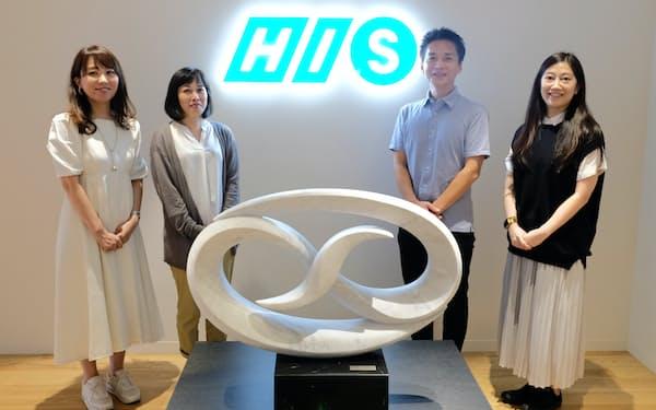 オンラインツアーに関わる主なメンバー。(左から)岡部さん、内田さん、八幡さん、勇川さん