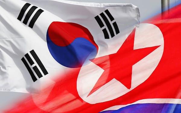 韓国と北朝鮮の旗