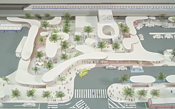 西口のイメージ図(市提供、米澤隆建築設計事務所作成)