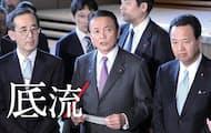 政府と日銀の「共同声明」発表後、記者の質問を受ける麻生太郎氏(2013年1月)