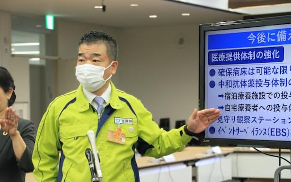 緊急事態宣言の解除要請を決めた滋賀県の三日月大造知事(24日、滋賀県庁)