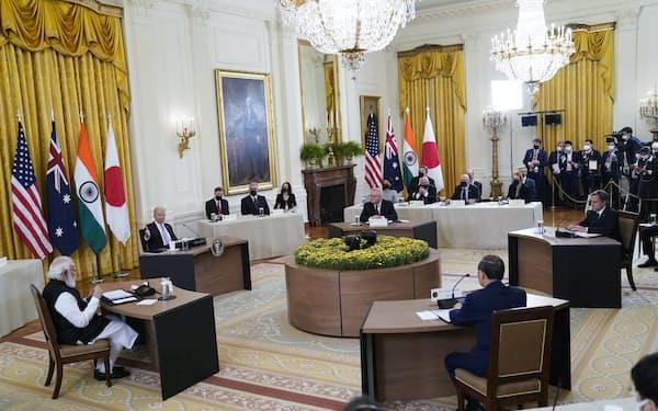 バイデン米大統領は対面式での初のクアッド首脳会談を主催した=AP