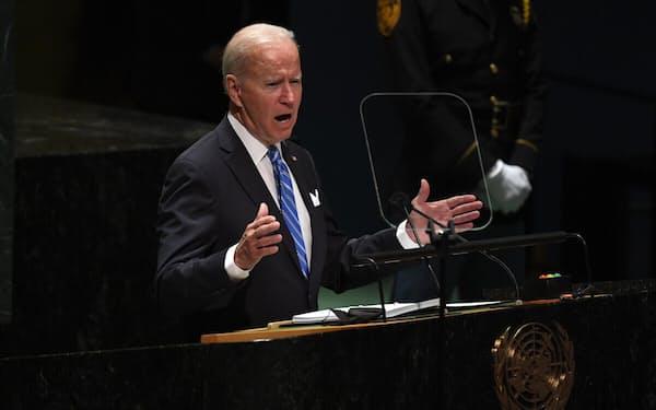 21日、国連総会で演説するバイデン米大統領(ニューヨーク)=ゲッティ共同