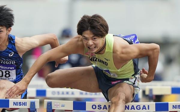 男子110メートル障害決勝 13秒48で優勝した金井大旺(26日、ヤンマースタジアム長居)=共同