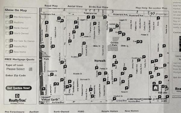 米国で住宅ローンを払えなくなったり、差し押さえられたりしたエリアのマップ(パソコン画面をプリントしたもの)