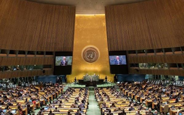 バイデン米大統領は21日の演説で「新冷戦を志向しない」と強調した=国連提供