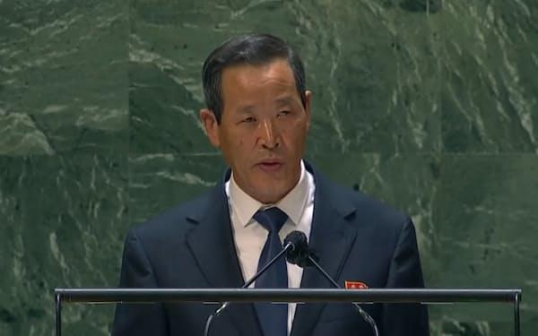 国連総会で演説する北朝鮮の金星国連大使(動画から撮影)
