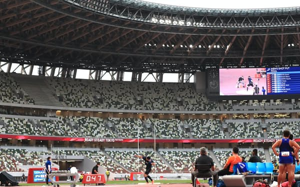 無観客で行われた、東京五輪に向けた陸上のテスト大会(9日、国立競技場)