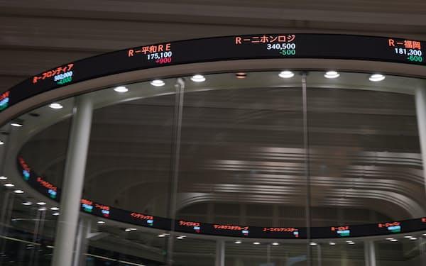 リニューアルでフルカラー表示になった東証の株価掲示板「チッカー」(20日)