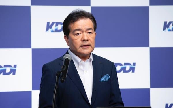 法人事業の成長戦略について話す、KDDI取締役執行役員専務の森敬一氏(出所:KDDI)