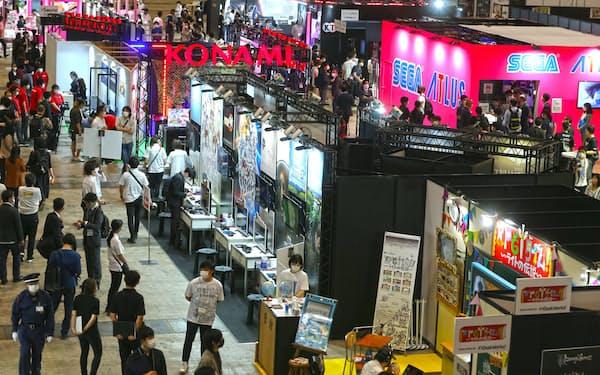 東京ゲームショウ2021オンラインが開幕。インフルエンサーなど向けに展示会場が設けられた(9月30日、千葉市の幕張メッセ)