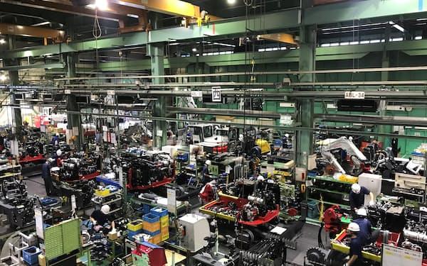 竹内製作所は青木村の新工場をてこに、さらなる業績拡大を目指す(坂城町の本社工場の様子)