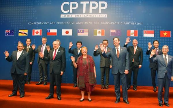 2018年3月、TPP署名式を前に写真撮影に応じる各国閣僚=チリ・サンティアゴ(共同)
