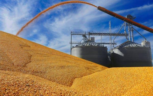 米国産の需給逼迫感はやや後退した(米イリノイ州の穀物エレベーター)=AP