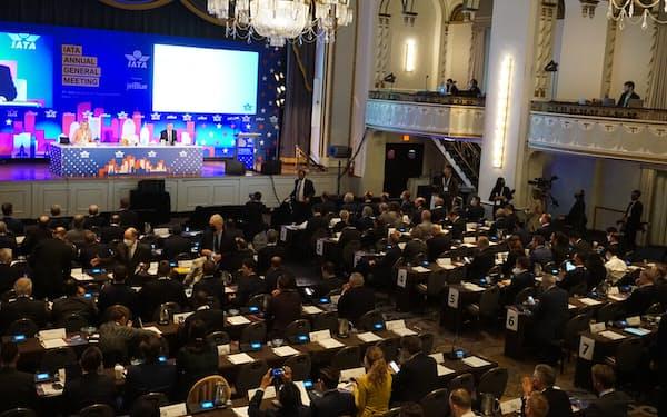 IATAは約2年4カ月ぶりに対面で年次総会を開いた(4日、米ボストン)