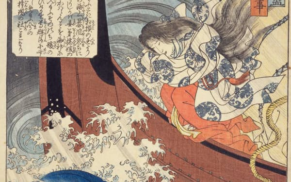 海に身を投げようとするオトタチバナヒメ(『東都旧跡尽』より「吾嬬森の故事」、国立国会図書館ウェブサイトより)