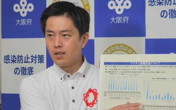 記者団の取材に応じる吉村知事(5日、大阪府庁)
