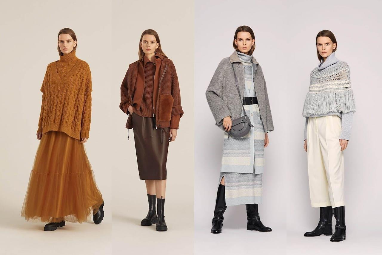 今年の秋冬ファッションはニットの重ね着がトレンド