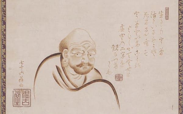浮世絵師で焼絵師の恋川白峨が焼筆で描いた「達磨図」