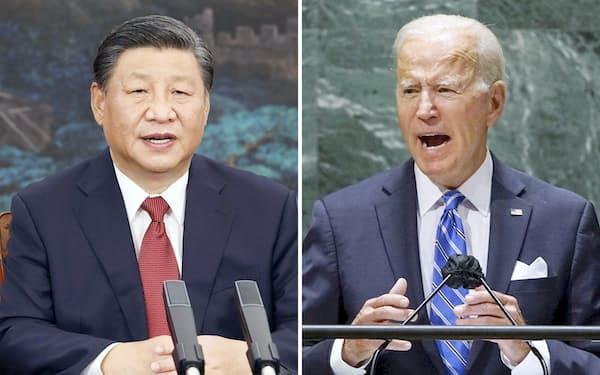 中国の習近平国家主席(左、新華社=共同)とバイデン米大統領(ロイター=共同)の首脳会談が実現するかどうかが焦点になる。