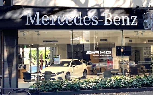 ブランド別では独メルセデス・ベンツが首位だった(東京都杉並区の販売店)