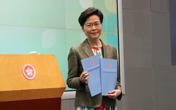 林鄭月娥・行政長官は中国本土との融合を強調した(6日、香港)