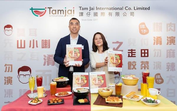 譚仔国際は香港などでライスヌードル店を展開する(9月の上場記者会見)