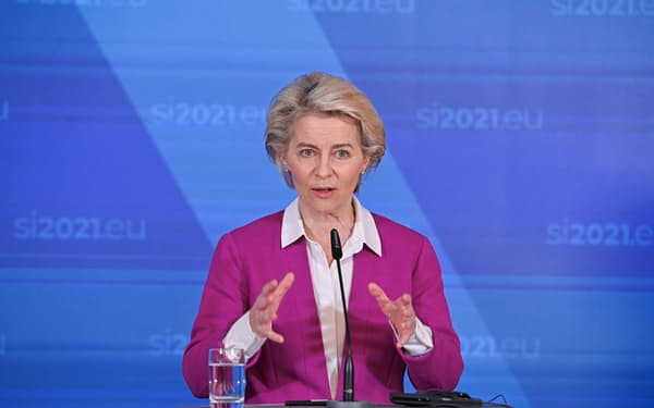EUのフォンデアライエン欧州委員長は天然ガス価格の高騰を「深刻な問題」だが、EUが再生可能エネルギーを支援していることの表れでもあると述べた。=ロイター