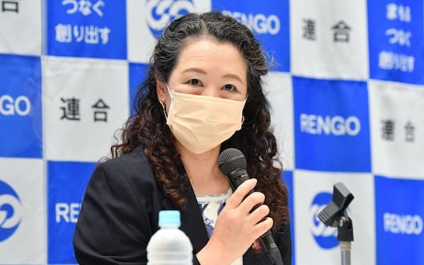 記者会見する連合の芳野友子会長(7日午前、東京都千代田区)