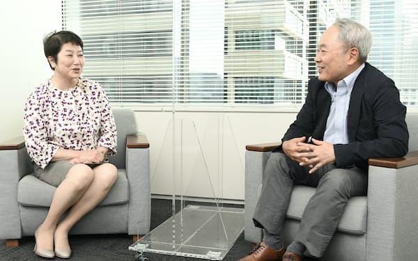 対談する大和証券グループの田代桂子副社長㊧と冨山和彦・経営共創基盤会長