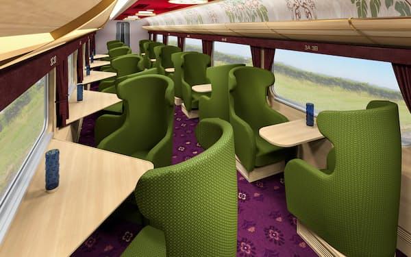 新しい観光特急は座席を広くとり、ゆったりと過ごせるようにした