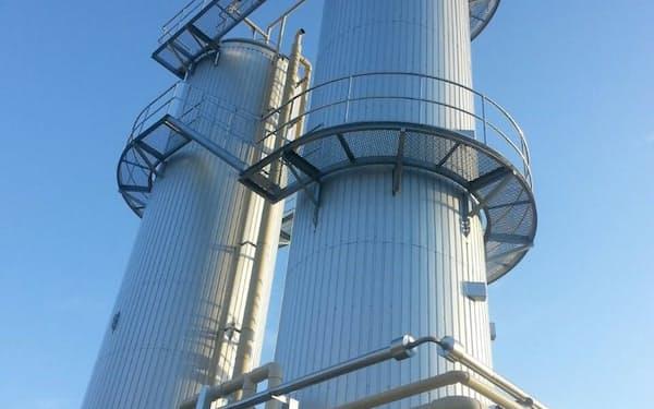愛研化工機の技術を使い生活排水の汚泥などからメタンガスを発生させる(国内の処理設備)