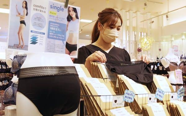 フランの吸水ショーツは販売を開始してから1年間で累計10万枚以上売れた(名古屋市内の店舗)
